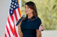USA:s tidigare FN-ambassadör Nikki Haley under valkampanjen i höstas. Arkivbild.