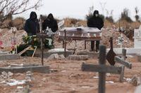 En begravningsplats för personer som har avlidit med covid-19, i Ciudad Juarez i Mexiko.