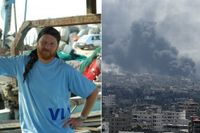 Den svenske aktivisten Charlie Andreasson befinner sig i Gaza för att agera mänsklig sköld.