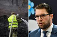 Brandsläckning i Älvdalen, och till höger SD-ledaren Jimmie Åkesson.