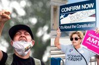 Hur kan vi hitta utrymme för respekt när det politiska samtalet har kommit att handla om goda och onda? Bilderna visar demonstrationer för och emot utnämningen av Amy Coney Barrett till HD-domare i USA.