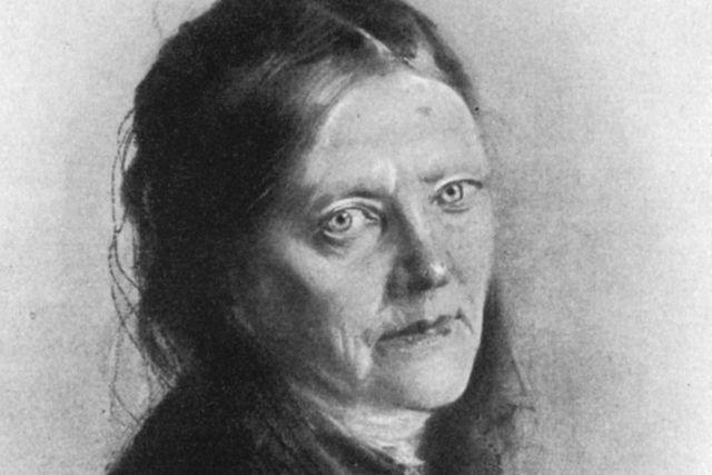 Malwida von Meysenbug, den första kvinnan som nominerades till Nobelpriset (1901). Teckning av Franz von Lenbach, 1890.