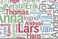 """26/4 De 200 vanligaste tilltalsnamnen i Sverige 2009. 100 kvinno- och 100 mansnamn. Vanligaste kvinnonamnet är Anna  (115 061) och vanligaste mansnamnet är Lars (101 382). Varje namn har fått storlek efter popularitet. Sist på 100-i-topplistan är Stina (12031) respektive Ludvig (10707). Klicka på länken """"De 200 vanligaste tilltalsnamnen 2009"""" nedan för att se hela bilden."""