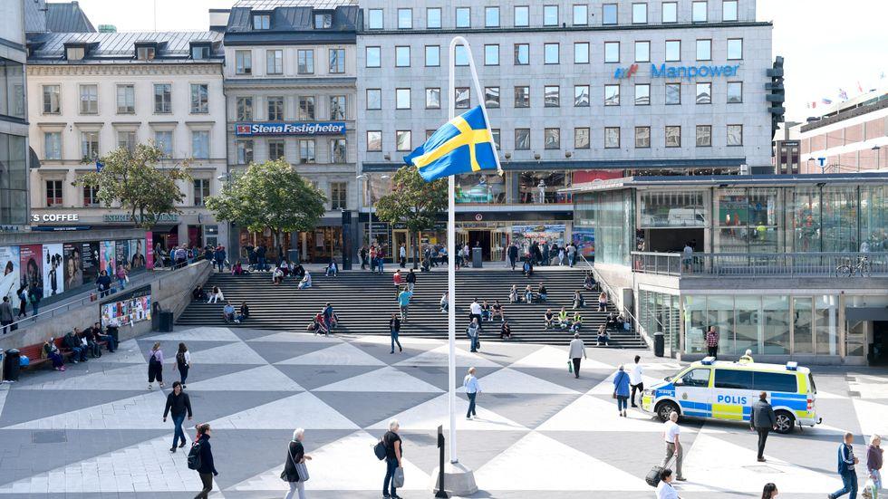 Konstnären Mattias Norströms omtalade konstverk Du gamla, du fria på Sergels torg. En bra illustration till Sveriges förmåga att ta tillvara sina intressen.