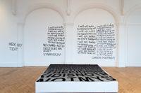 """Installationsvy från Karl Holmqvists utställning: """"Read dear"""", Camden Arts Centre, 2016."""