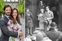 När Carl Philip gifter sig med Sofia Hellqvist blir det en stor fest. 1932 gifte sig prins Lennart med Karin Nissvandt. Bröllopet hölls helt utan pompa och ståt och prinsen förlorade sin prinstitel.