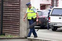 En nyzeeländsk polis med ett inlämnat vapen. Bilden är från mars i år. Arkivbild.