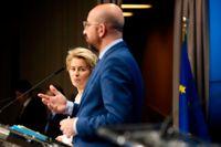 EU:s kommissionsordförande Ursula von der Leyen och permanente rådsordförande Charles Michel utlovar en akut ekonomisk insats för att mota coronakrisens verkningar.