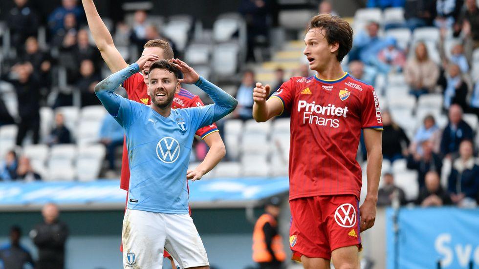 Djurgårdens Hjalmar Ekdal kvitterade till 1–1 i den 80:e minuten borta mot Malmö FF.