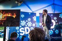 Sverigedemokraternas partiledare Jimmie Åkesson under partiets pressträff i Almedalen på torsdagen.