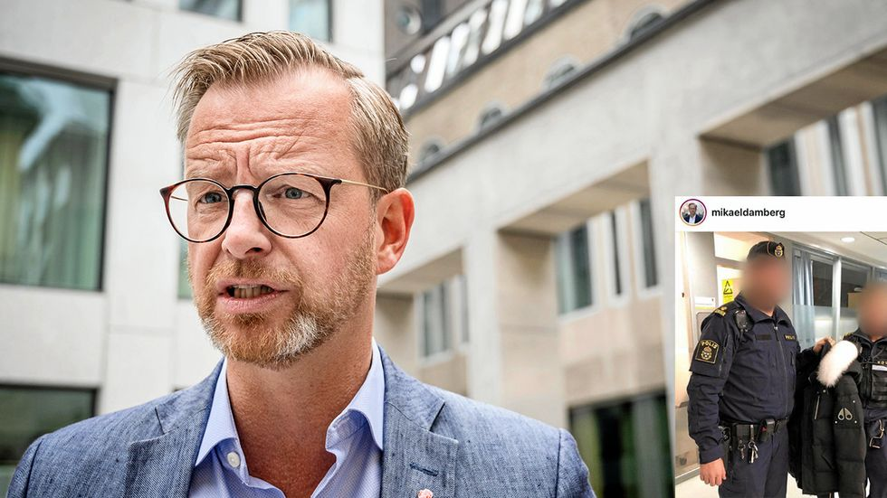 """Inrikesminister (S) Mikael Dambergs inlägg om den beslagtagna jackan har väckt uppmärksamhet. """"Olyckligt inlägg och det har förekommit en hel del otrevligheter i sociala medier mot poliserna"""", säger polisen Viktor Adolphsson."""