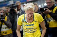 Carolina Klüft avslutade friidrottskarriären med att förlora sin match i match på tredjesträckan i stafettan på 4x400 meter (trots godkända 54,5 sek). Sedan kom tårarna.