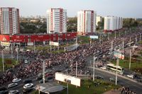 Demonstranter protesterar mot regimen i Belarus. Arkivbild.