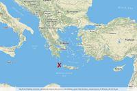 Ett skalv har inträffat utanför Kreta.