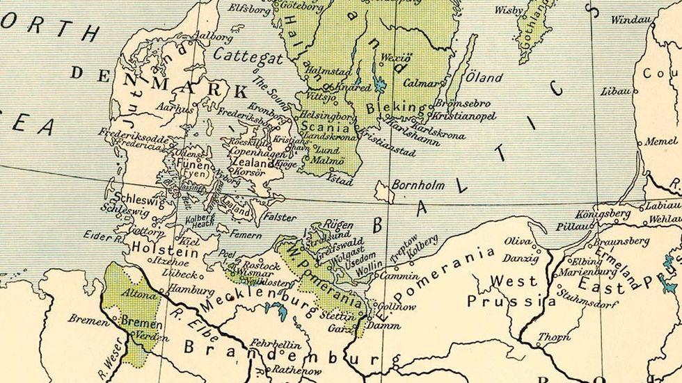 Karta som visar Sveriges tyska provinser 1661.