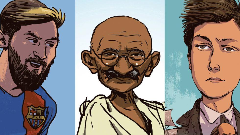Lionel Messi, Mahatma Gandhi, Arthur Rimbaud.