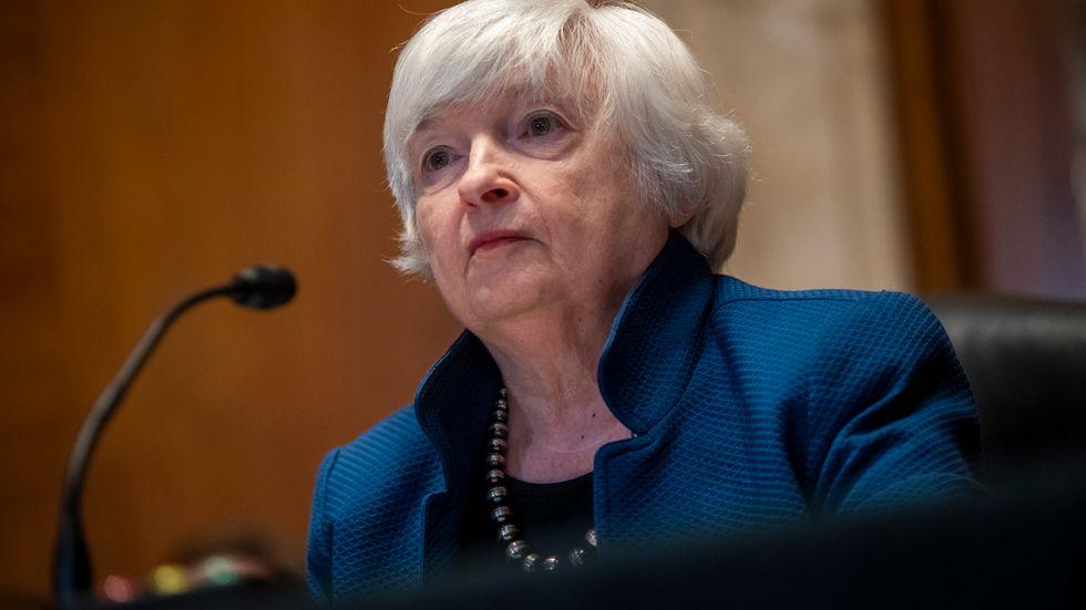 USA:s finansminister Janet Yellen varnar för att USA snart slår i lånetaket. Arkivbild