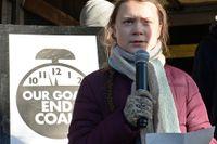 Greta Thunberg talade vid lördagens klimatmarsch.
