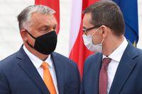 Ungerns premiärminister Viktor Orbán och Polens premiärminister Mateusz Morawiecki blockerar fortsatt EU:s långtidsbudget. Arkivbild.