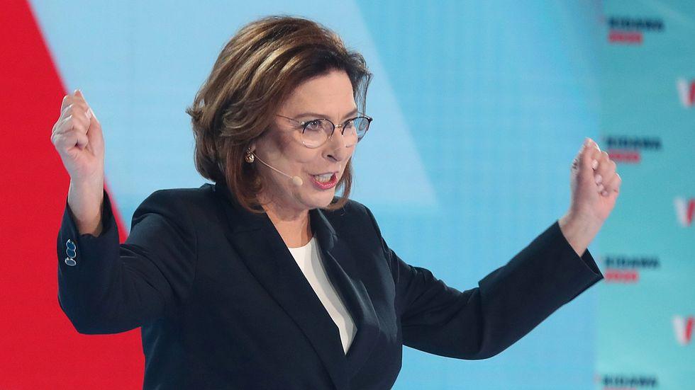 Presidentkandidaten Malgorzata Kidawa-Blonska under ett valmöte i Warszawa i februari.