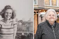 Thea Mansnerus kom till Sverige som 14-åring på 1930-talet. Till höger: Hennes dotter Barbro och dotterdotter Katarina besöker platsen på Söder dit Thea kom 1936.