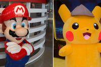 De kända japanska spelfigurerna Mario och Pikachu. En bild på karaktärer från det populära spelet Fortnite.
