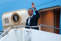 Barack Obama anlände till Tallin, Estland, tidigt under onsdagsförmiddagen.