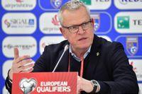 Sveriges förbundskapten Janne Andersson under en pressträff efter 3–0-segern borta mot Kosovo i söndagens VM-kvalmatch.