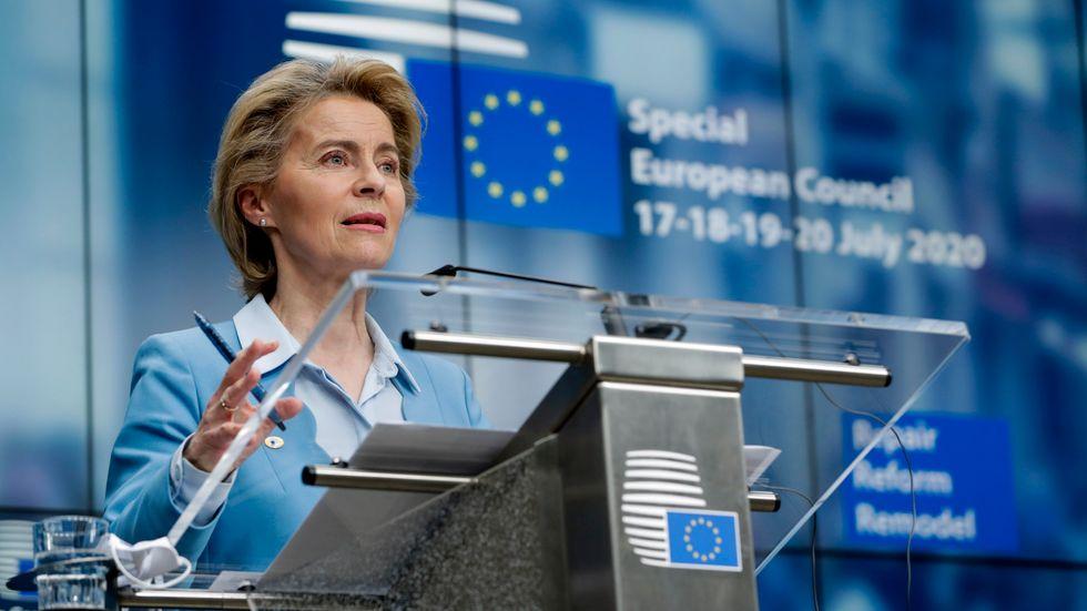 EU-kommissionens ordförande Ursula von der Leyen under en presskonferens i samband med EU-toppmötet nyligen.