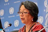 Victoria Tauli-Corpuz talar under en konferens i FN-högkvarteret i maj 2016.