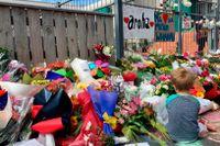 Blommor vid ett muslimskt centrum i nyzeeländska huvudstaden Wellington.