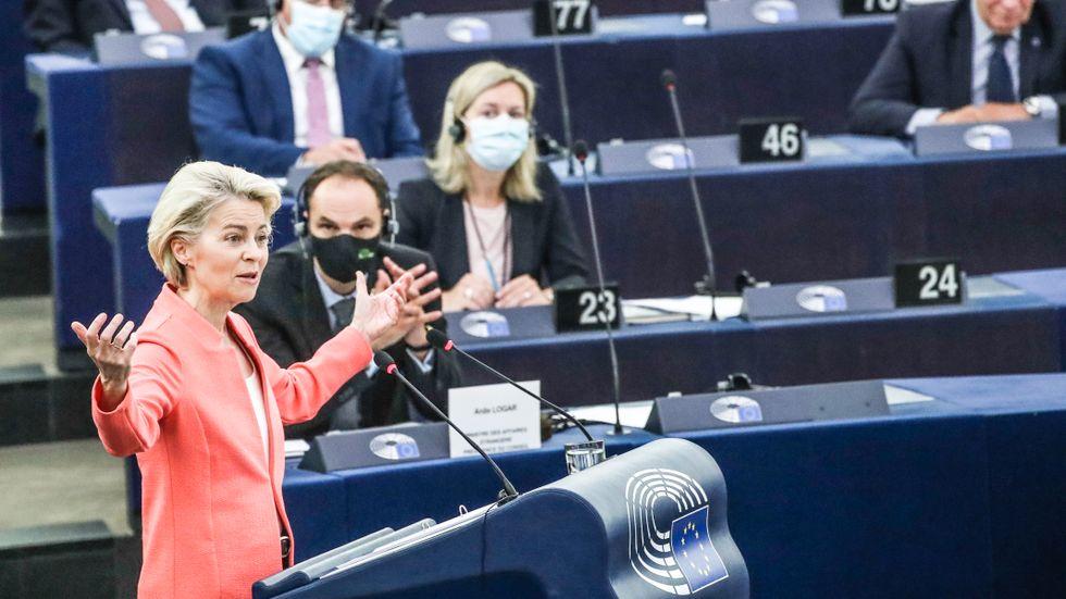 Ursula von der Leyen under sitt årliga tal om tillståndet i EU.