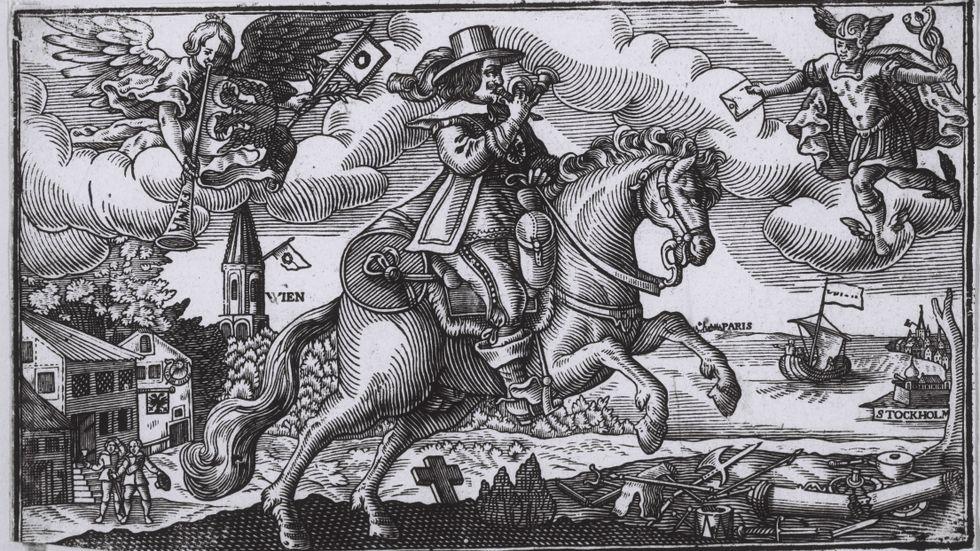 Efter freden i Altranstädt 1706 var den svenske kungen en av Europas mäktigaste män. Bilden visar en kurir som färdas mellan Wien och Stockholm med budet om att den polsk-sachsiske August II hade erkänt sig besegrad.