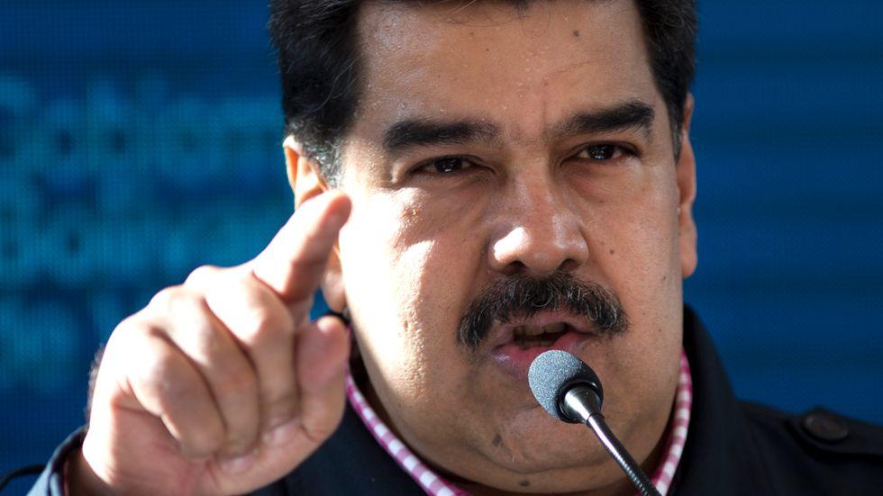 Venezuela's President Nicolas Maduro speaks after voting in local elections in Caracas, Venezuela, Sunday, Dec. 9, 2018.