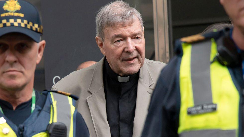 Kardinal George Pell i samband med rättegången mot honom i Melbourne, Australien, i mars 2019.