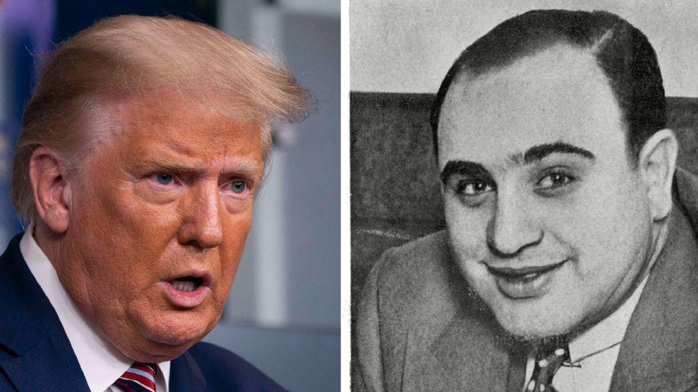 President Donald Trump och gansterledaren Al Capone.