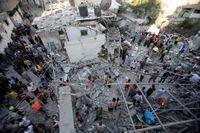 Ett hus i spillror efter en raketattack i Gaza city.