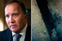Till höger bild ur ny dokumentärserie på ett hål i skrovet på Estonia, som sjönk 1994.