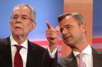 Presidentkandidaterna Alexander Van der Bellen, före detta ledare för De Gröna, och Norbert Hofer, Frihetspartiet FPÖ.