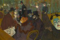 """""""På Moulin Rouge"""" av Henri de Toulouse-Lautrec från 1892, samtidigt ett självporträtt (beskuren)."""