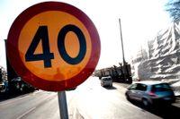 Nästan varannan bilförare kör för fort vid gator som har en hastighetsgräns på 40 km. Arkivbild.