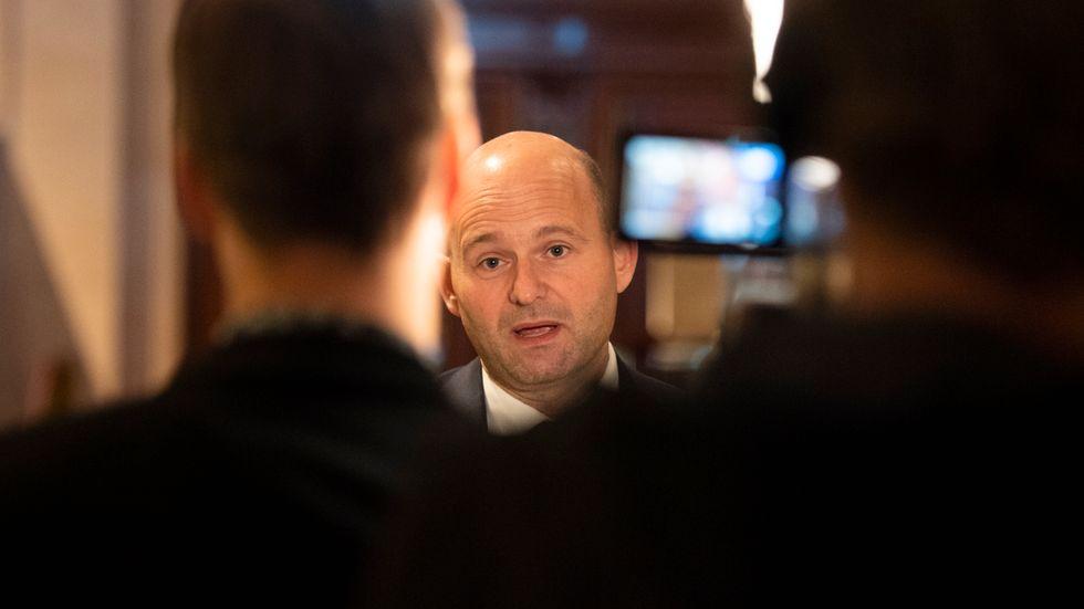 Sören Pape Poulsen, dansk fd justitieminister, deltog i torsdagens Moderatseminarium om gängbrottslighet.