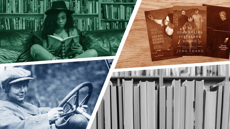 Tre av titlarna från SvD:s lista och ett fotografi föreställande Ester Blenda Nordström.