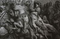 Illustration av Gustave Doré. Rikard Lejonhjärta och Saladin, Slaget vid Arsuf 1191.
