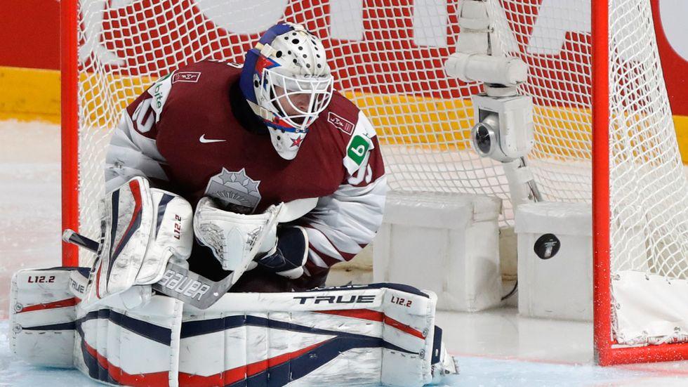 Matiss Kivlenieks under ishockey-VM. Arkivbild.