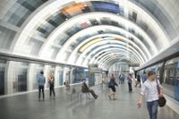 Illustrationsbild för nya stationen i Arenastaden.