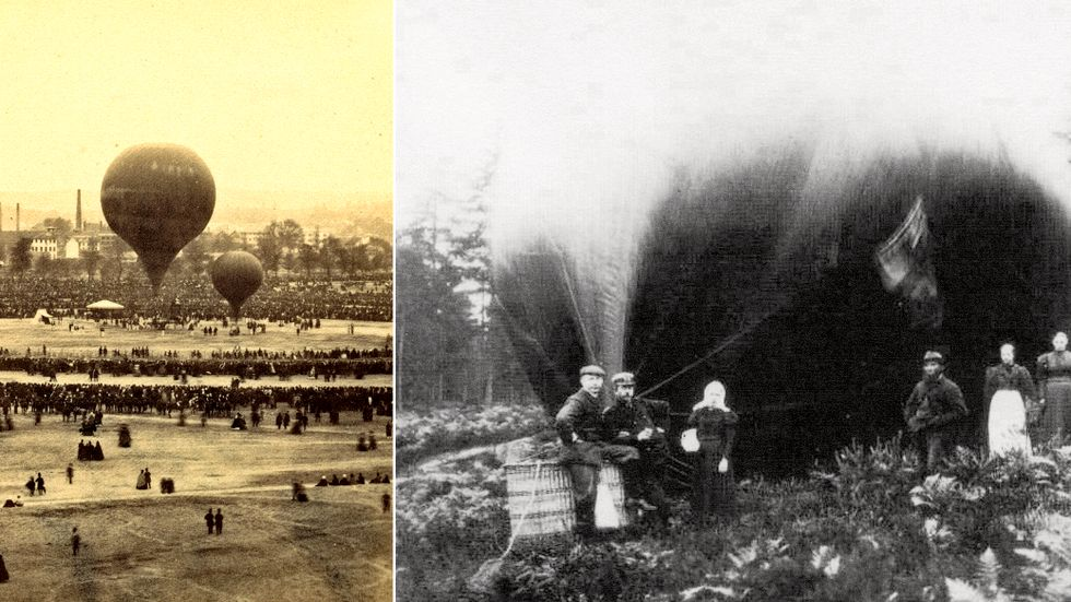 Fotograf Felix Nadar med sällskap gör sig redo inför avfärd den 18 oktober 1863. Till höger: Oscar Halldin och Francisco Cetti vid ballongen Frithiof Nansen i Lerum, 1898.