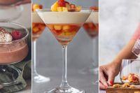 Chokladpudding, citronfromage med ananas- och jordgubbssalsa och ugnsbakad rabarber med kokoskräm.