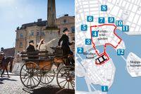 Genrep av bröllopskortegen inför prins Carl-Philips och Sofias bröllop vid slottet. Grafik över hur trafiken påverkas. Klicka på bilden för att se fler bilder.