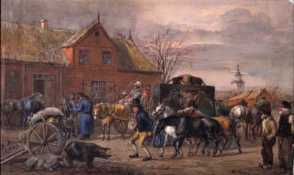 Gästgivaregård i Halland, 1863. Akvarell av Fritz von Dardel (1817–1901), Nordiska museet.